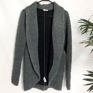 Three Dots Gray Textured Knit Cardigan - M